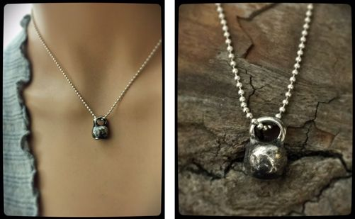 Custom Made Fine Silver Rustic Kettle Bell Necklace - Cross Fit