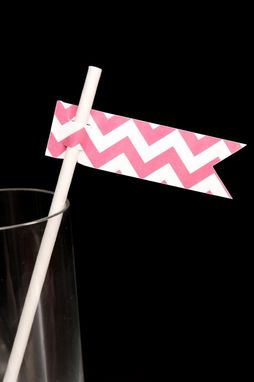 Custom Made Wedding Straw Flags - Pink Chevron - Drink Stirrers - Paper Straw Flags