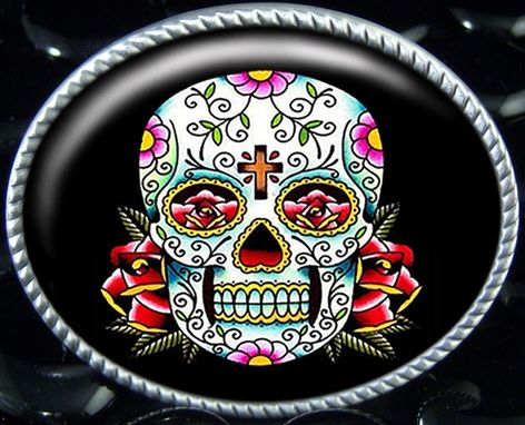 Custom Made Dia De Los Muertos Tattoo Skull Belt Buckle Bb-55-So