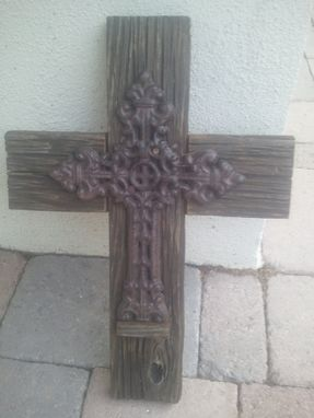 Custom Made Detailed Iron Cross On Barnwood