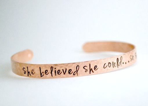 Custom Made Hand Stamped Cuff Bracelet, She Believed She Could So She Did, Hand Stamped Jewelry