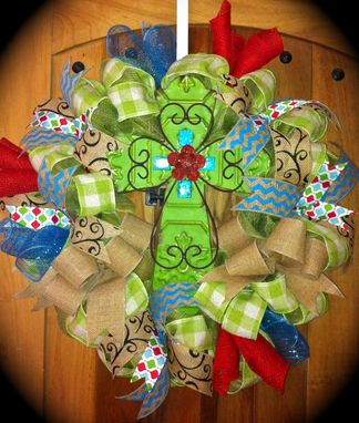 Custom Made Colorful Ribbon And Cross Wreath
