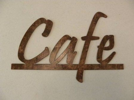 Custom Made Cafe Word Kitchen And Home Decor Metal Wall Art Antique Copper