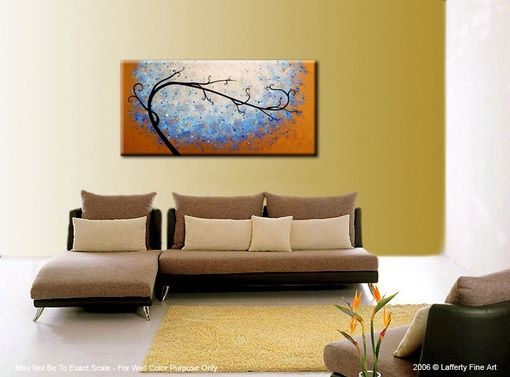 Custom Made Large Original Abstract Tree Painting, Textured Blue Gold Metallic, 2x4ft Abstract Tree, 24x48