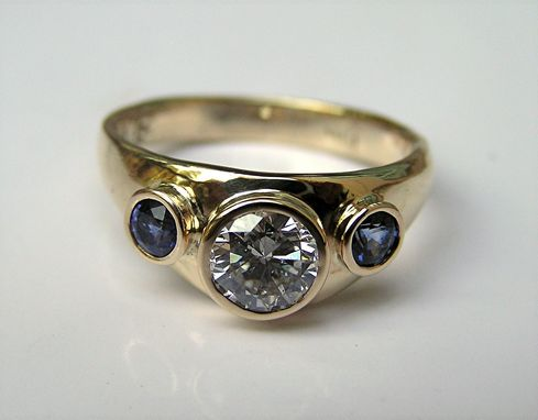 Custom Made Custom Gold Engagement Ring With Diamond & Sapphire