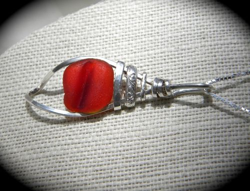 Custom Made Silver Shell Necklace With Red Sea Glass