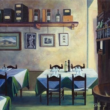 Custom Made Pietrasanta Locanda - Table For Four (Italy) Oil Painting - Fine Art Print On Canvas