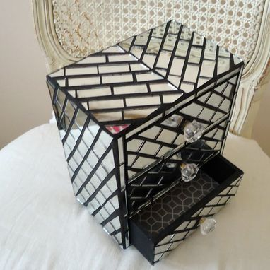 Custom Made Mirror Jewelry Box With Mosaic Diagonal Pattern