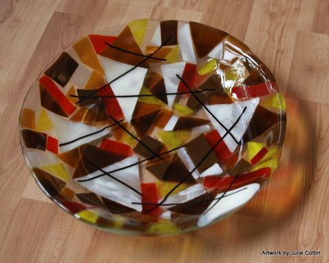 Custom Made Fused Glass Bowl 11 Inch Circle
