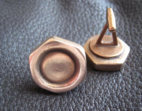 Custom Made Handyman Special Solid Bronze Hex Nut Cufflinks Cuff Link 5/8 Inch