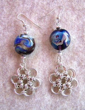 Custom Made Handmade Lentil Lampwork Beads Silver Plated Chainmaille Earrings Blues, Greens, Violets, And Golds