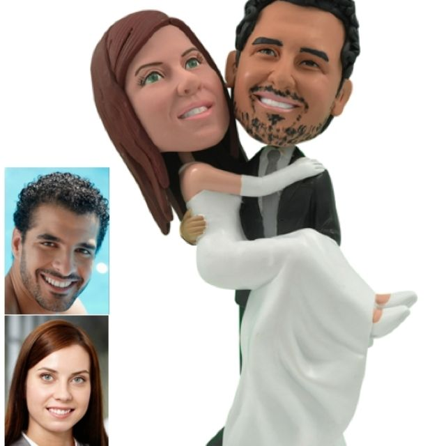 Personalized Wedding Cake Topper Of A Groom Carrying The Bride By Pablo Bran