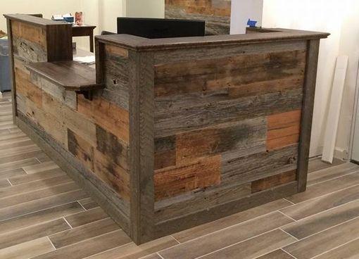 Hand Made Custom Barn Wood Reception Desk By Defiance