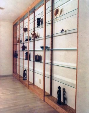 Custom Made Glass And Oak Shelving