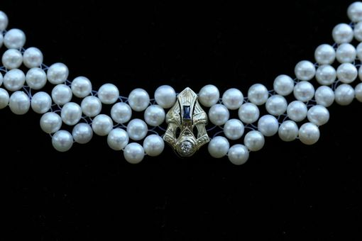 Custom Made Hand Woven Sapphire & Diamond Pearl Lace Necklace. Perfect For Bridal Jewelry!