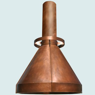 Custom Made Copper Range Hood With Round Stack