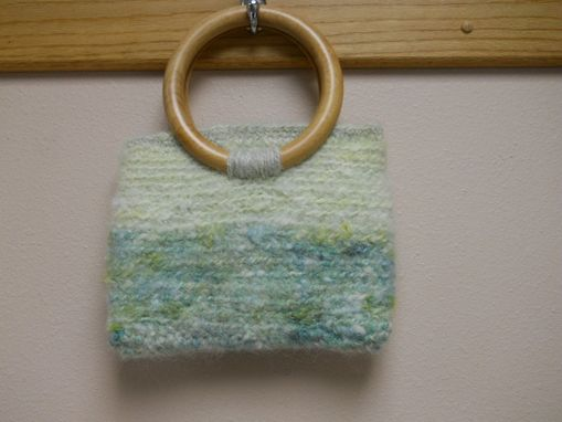 Custom Made Crocheted Purse Spring Light Green With Wood Handles,