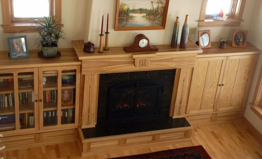 Custom Made Figured Ash Arts & Crafts Fireplace Bookcase Entertainment Center