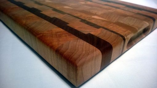 Custom Made End Grain Cutting Board - Maple, With Black Walnut Stripes.