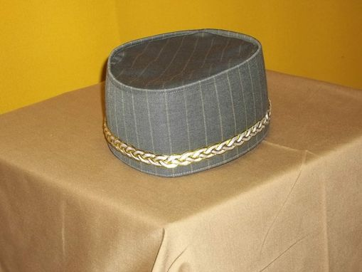 Custom Made Crown/ Kufi In Olive Green And Antique Gold Pint Stripe Wool With White& Gold Braid