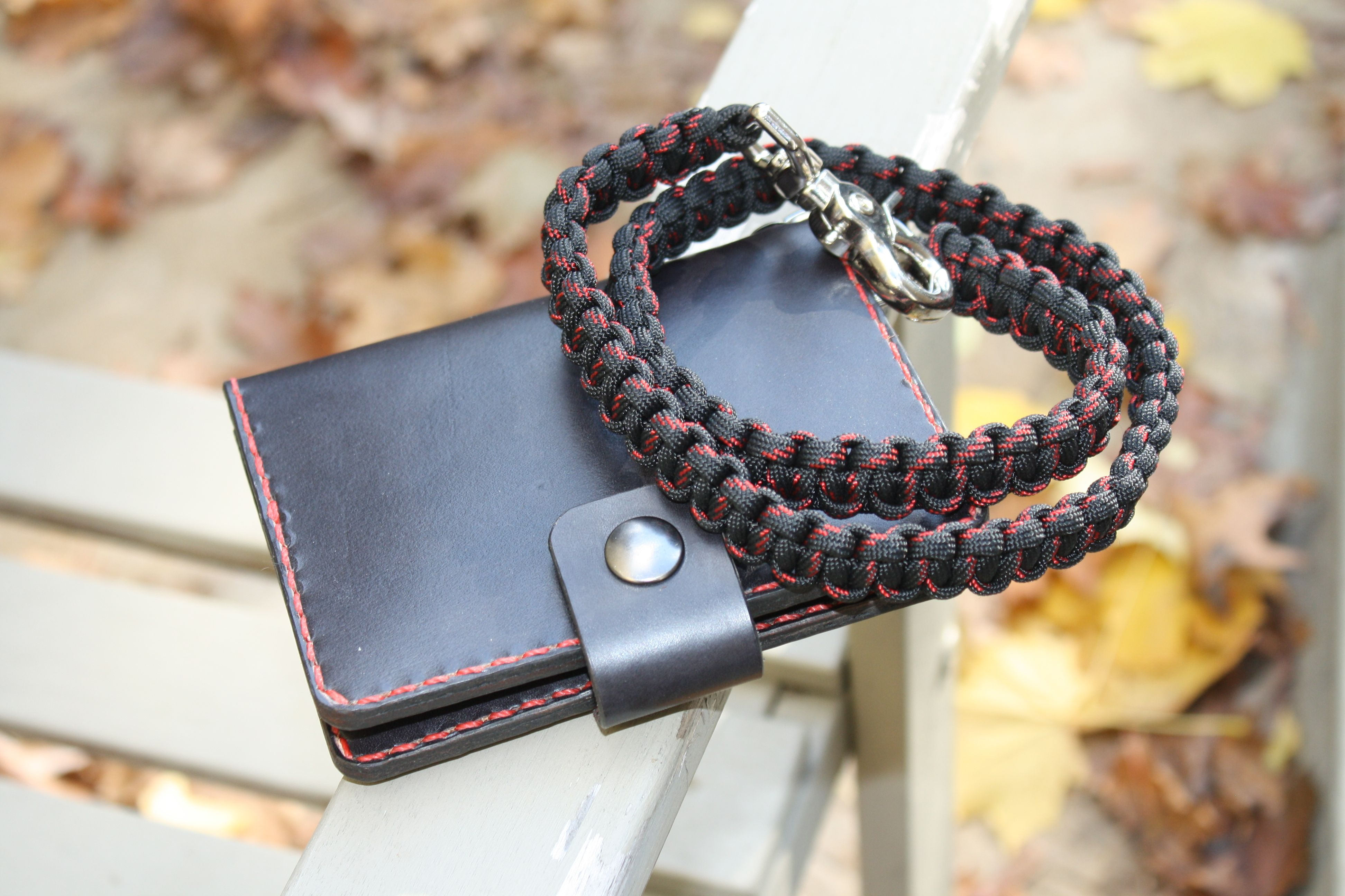Buy a hand made biker wallet with paracord chain for How to make a paracord wallet chain