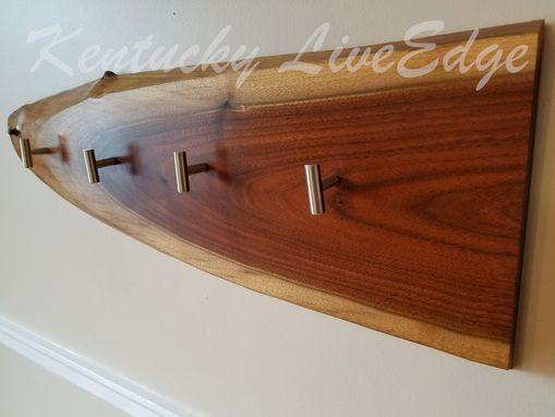 Hand Made Natural Wood Coat Rack Live Edges Walnut Slab