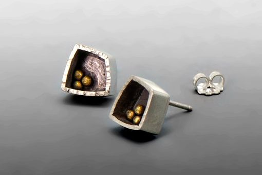 Custom Made Modern Sterling Silver And Gold Studs, Understated, Bimetal Earrings