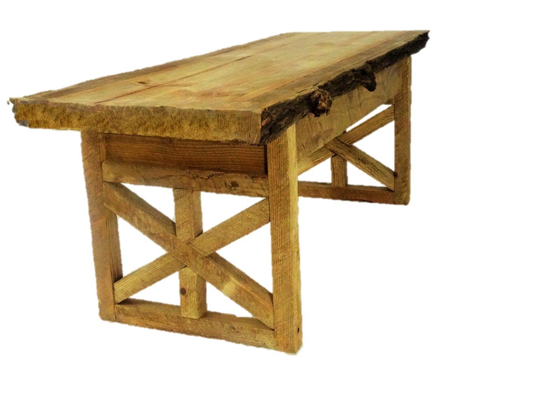 Custom Made Rustic Star Sided Split Tree Coffee Table