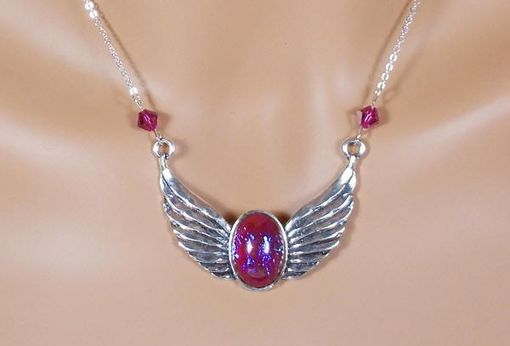 Custom Made Dragon'S Breath Opal Necklace With Wings