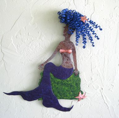 Custom Made Handmade Upcycled Metal Mermaid On Rock Wall Art Sculpture