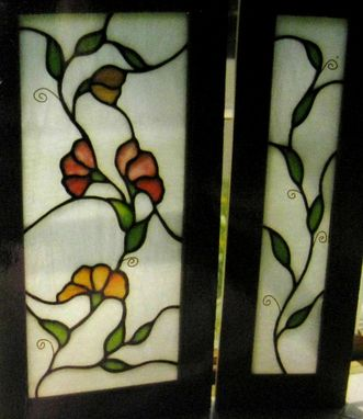 Custom Made Stained Glass Floral Door Panels