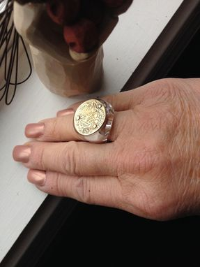 Custom Made Greek Coin Ring In Lucite And Gold