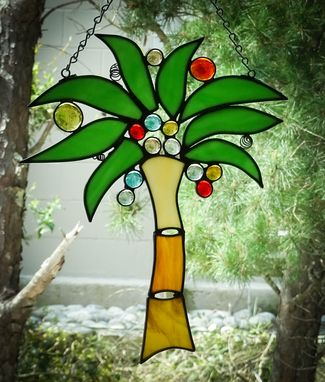 Custom Made Palm Tree Stained Glass