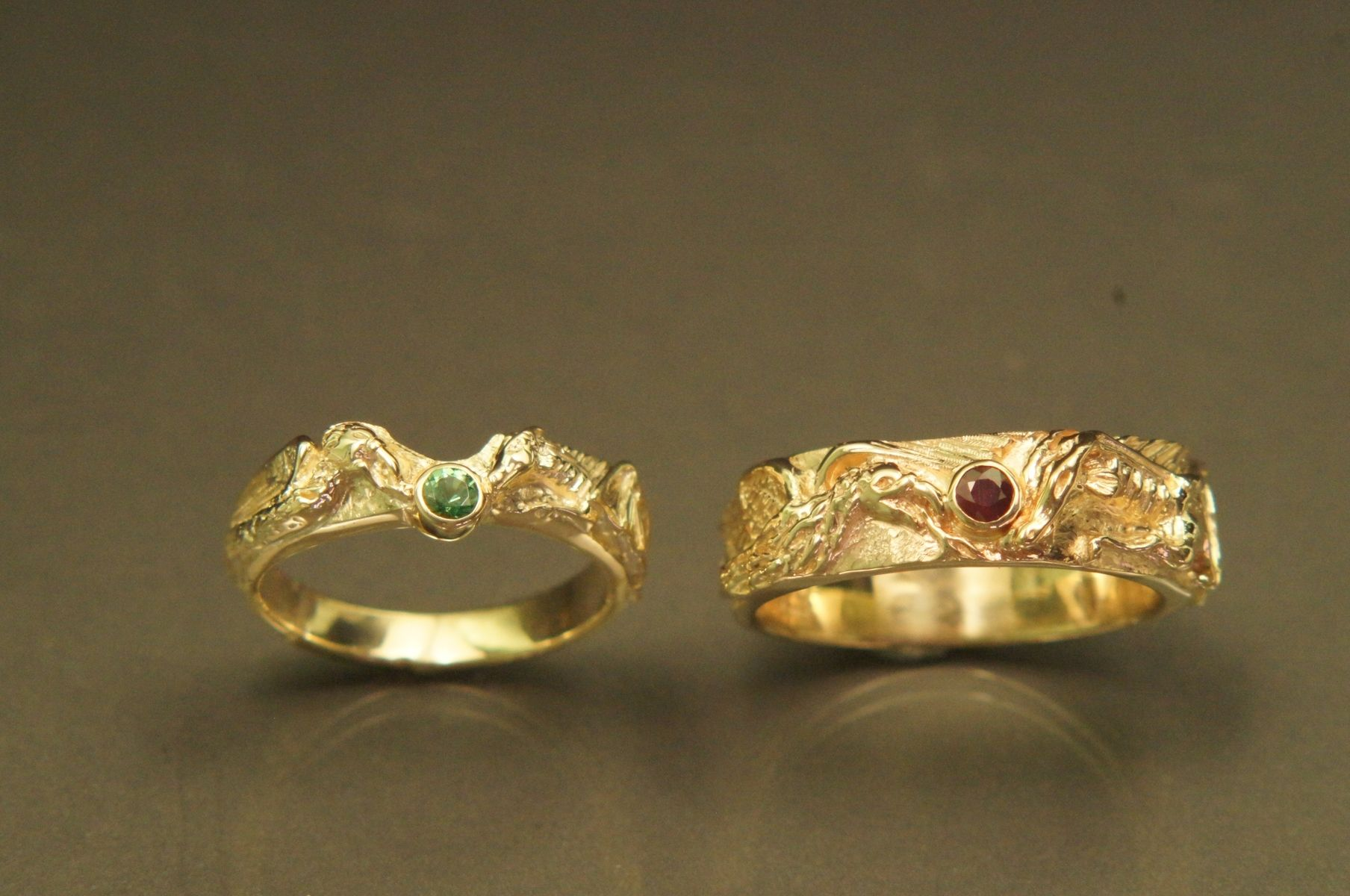 Hand Crafted Dragon & Phoenix Carved Rings by Frank Goss Goldsmith