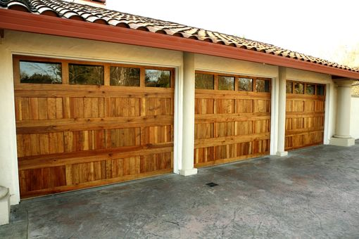 Custom Made Custom Redwood Garage Doors
