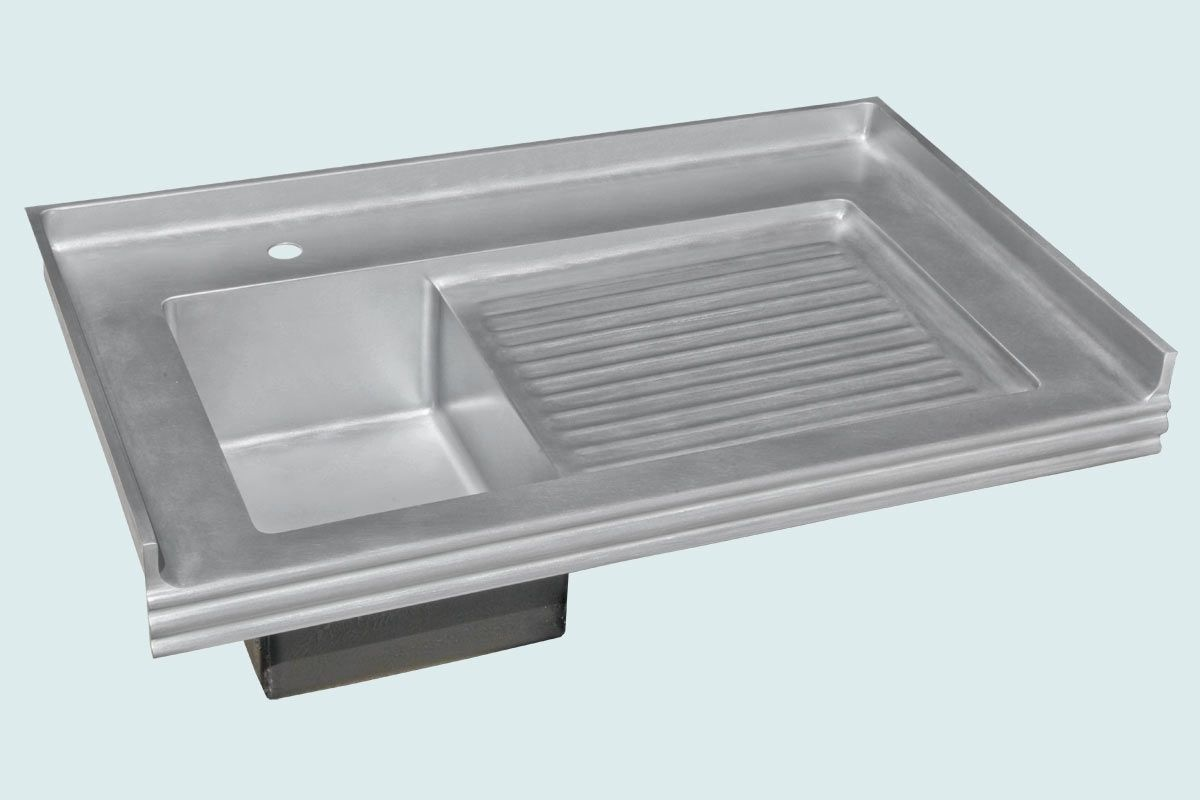Hand Crafted Zinc Sink With Backsplash Amp Ribbed Drainboard By Handcrafted Metal