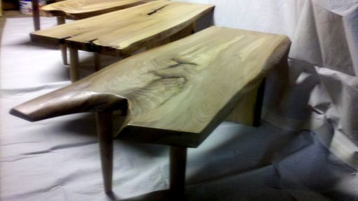 Custom Made Set Of Elm Slab Benches
