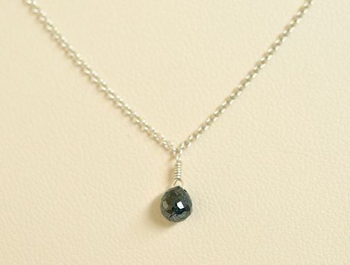 Custom Made Black Diamond Necklace With Argentium Silver