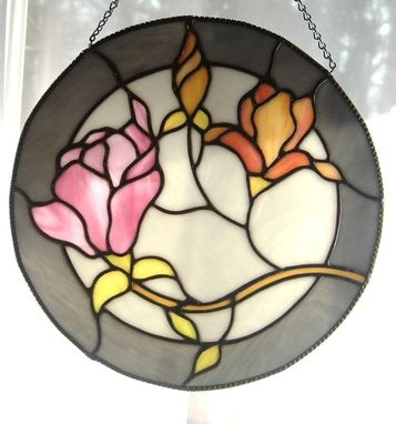 Custom Made Stained Glass Floral Round Window