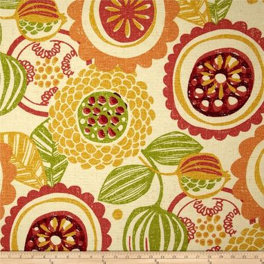 "Custom Made Custom Designer Draperies: Richloom Handblock Floral In Citrus Citrine Gray Green 90""L X 50""W"