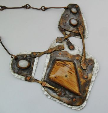 Custom Made Petrified Wood And Moonstone Stainless Steel Necklace