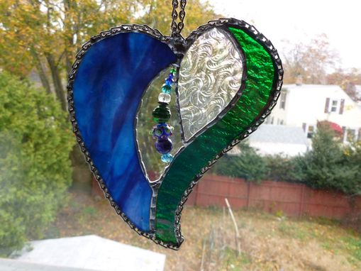 Custom Made Stained Glass Heart With Beads