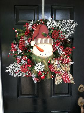 Custom Made Winter Wreaths Christmas Wreaths Snowman Wreaths