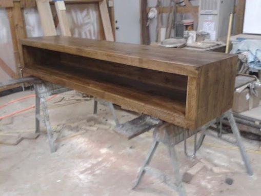 Custom Made Solid Rustic White Oak Entertainment Console.