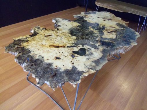 Hand Crafted Live Edge Buckeye Burl Coffee Table With Cats