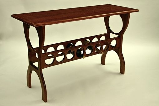 Custom Made Mahogany Sofa Table With Wine Rack