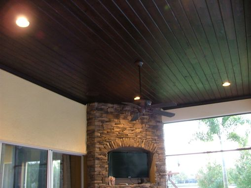 Custom Made Cypress-Covered Exterior Ceiling