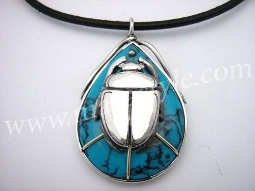 Hand crafted sterling silver gold egyptian scarab beetle pendant custom made sterling silver gold egyptian scarab beetle pendant turquoise amulet insect bug aloadofball Gallery