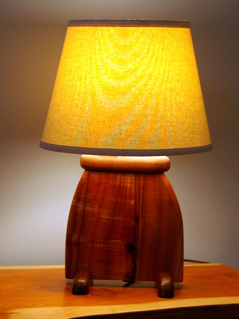 Hand Made Hawaiian Koa Wood Art Deco Slab Table Lamp by Puffball ...