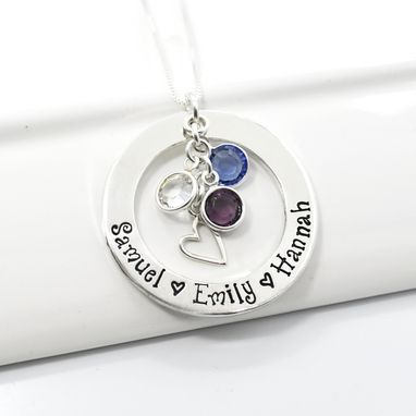 Custom Made Personalized Mothers Necklace Sterling Silver Washer With Birthstones And Heart Charm